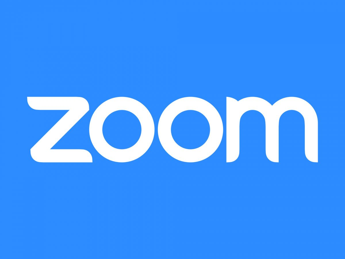 White zoom logo on blue background