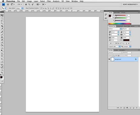 A blank photoshop canvas—this is how I start each day